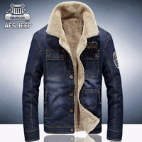 M 4XL New Retro Warm Denim Jackets Mens Jeans Coats Winter Jackets Brand AFS JEEP Thicken
