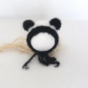 Пушистая Шапка для новорожденных, реквизит для фотосессии, вязаная шапка с пандой, вязаная крючком Детская шапка с животными, Рождественски...