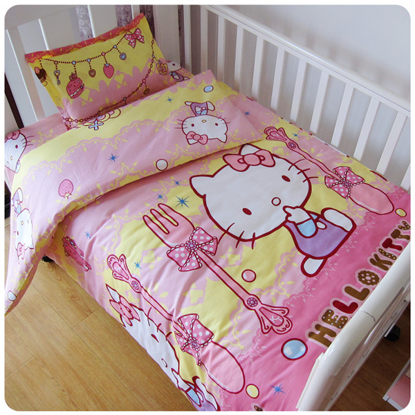 Promotion! 3PCS  Cartoon Baby Bedroom Newborn Baby Crib Bedding Set For Boys,(Duvet Cover+Sheet+Pillowcase)