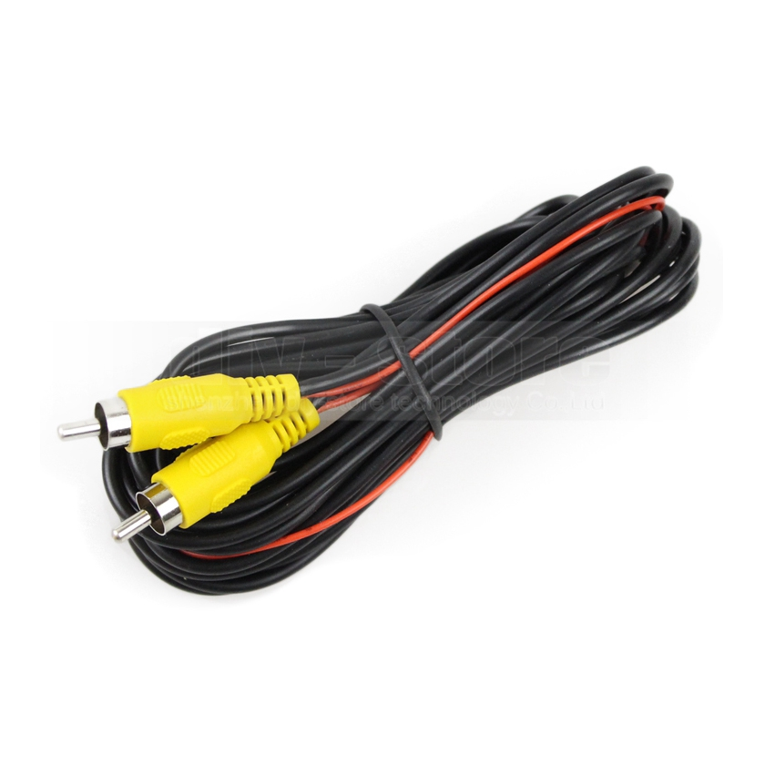 DIYKIT 10 meters AV RCA Extension Cable / Cord Video Cable + Connector for Rear View Camera and Car Monitor