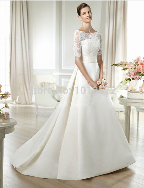 2015 New Arrival Gorgeous Wedding Dress With Detachable Sleeve Lace Jacket Satin Empire Waist A Line Formal Bridal Gown In Dresses From
