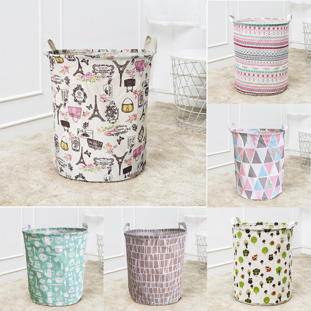 Dirty Clothes Storage Basket Folding Waterproof Dirty Clothe Laundry Basket Cotton Linen Kids Toy Sundries Storage Barrels &s Корзина