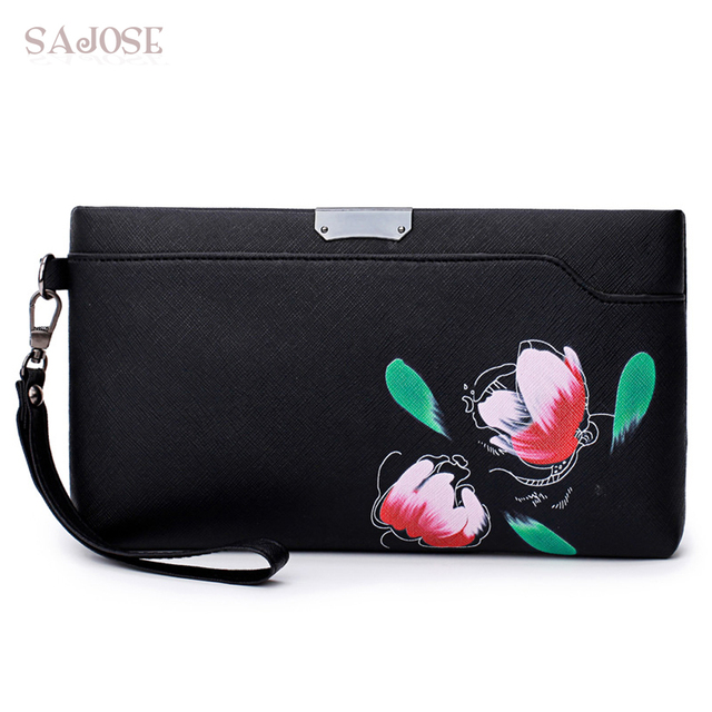Best-selling Leather Fashion Women s Clutch Bag Printed Flowers Women  Leather Purse Handbags Shoulder Bags For Women SAJOSE 2e9c5eabe