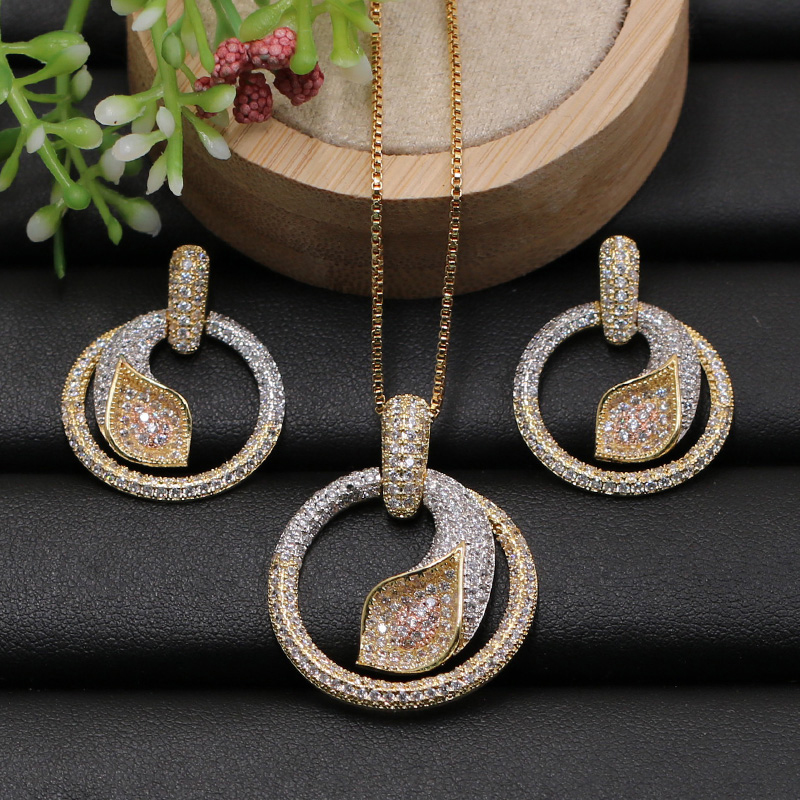 Lanyika Jewelry Set Geometry Circle with Palm Leaf Micro Paved Cubic Zircon Necklace with Earrings for Engagement Best Gifts