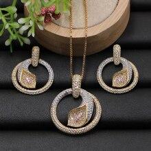 Lanyika Schmuck Set Geometrie Kreis mit Palm Blatt Micro Gepflasterte Cubic Zirkon Halskette mit Ohrringe für Engagement Beste Geschenke
