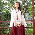 Mulheres primavera Blusas De Corte Flor Falsos 2 Peças Blusa Top Cheongsam Branco Vermelho Manga Três Quartos Blusas Mujer Chemise Femme