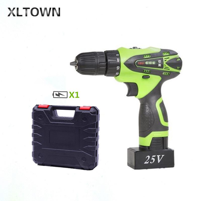 XLTOWN 25V hand drill rechargeable lithium battery multi-function electric screwdriver with a box Household power tools drill xltown 25v hand drill rechargeable lithium battery multi function electric screwdriver with a box household power tools drill