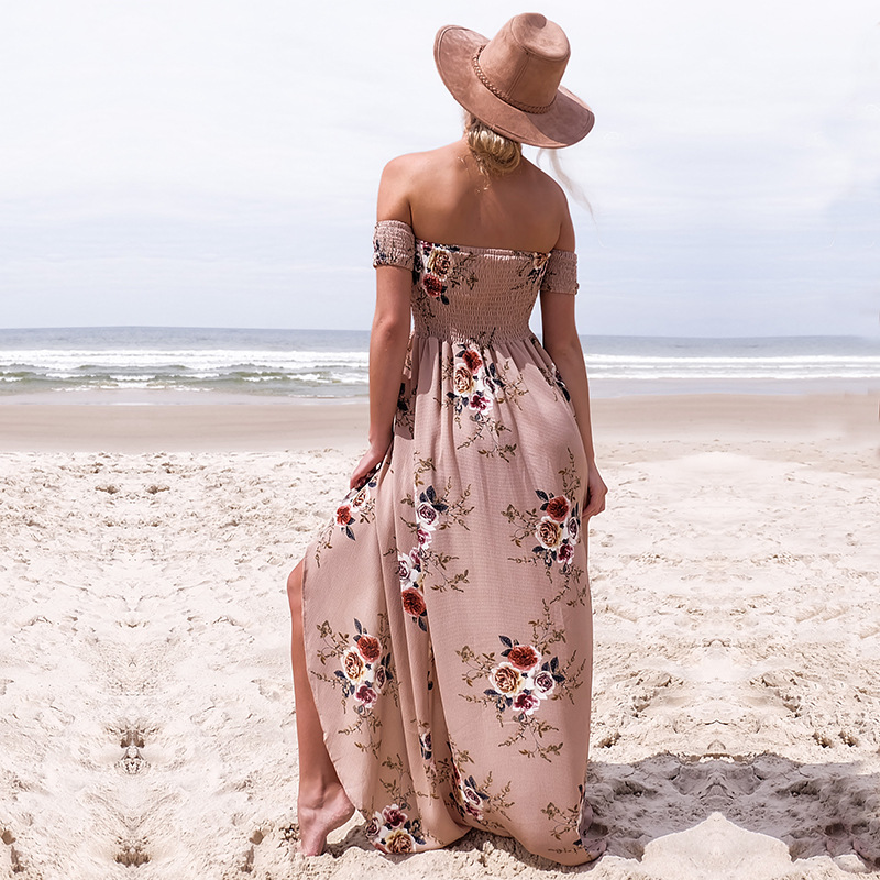 Boho style long dress women Off shoulder beach summer dresses Floral print Vintage chiffon white maxi dress vestidos de festa 5