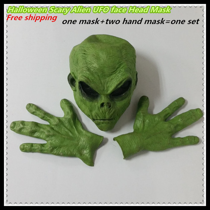 Halloween Free shipping Realistic Green UFO Alien Face Head Mask Creepy Costume Party Cosplay Scary mask with hand mask|scary mask|head mask|creepy costume - title=