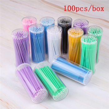 100 Pcs/Pack Micro Brush Disposable Microbrush Applicators Eyelash Extensions Remove False Eyelashes Cotton Swab