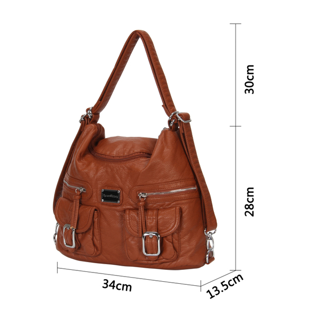 2016 New Designer Brown Leather Handbags For Women Fashion Shoulder Handbags Street Casual Style Bag Top Quality Handbags Female