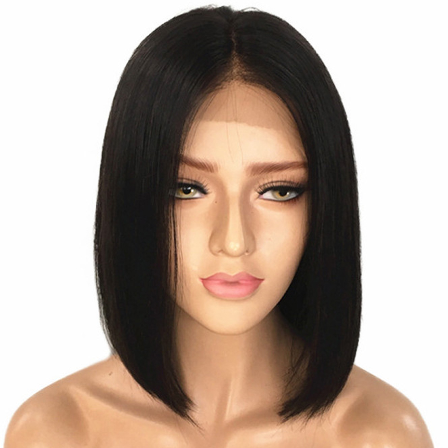 Short Human Hair Bob Wig Brazilian Lace Front Human Hair Wig For Black Women Remy Straight