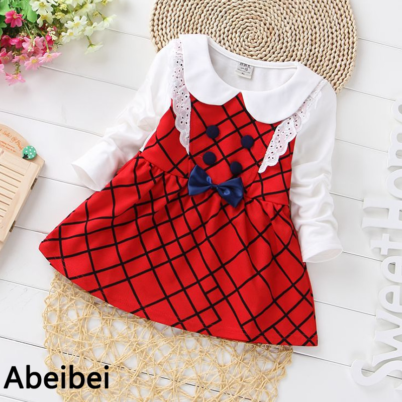 2016 spring girls One-Piece Dress Lace dress Red color Children preppy style dress Colthes For Kids Baby girl Free Shipping
