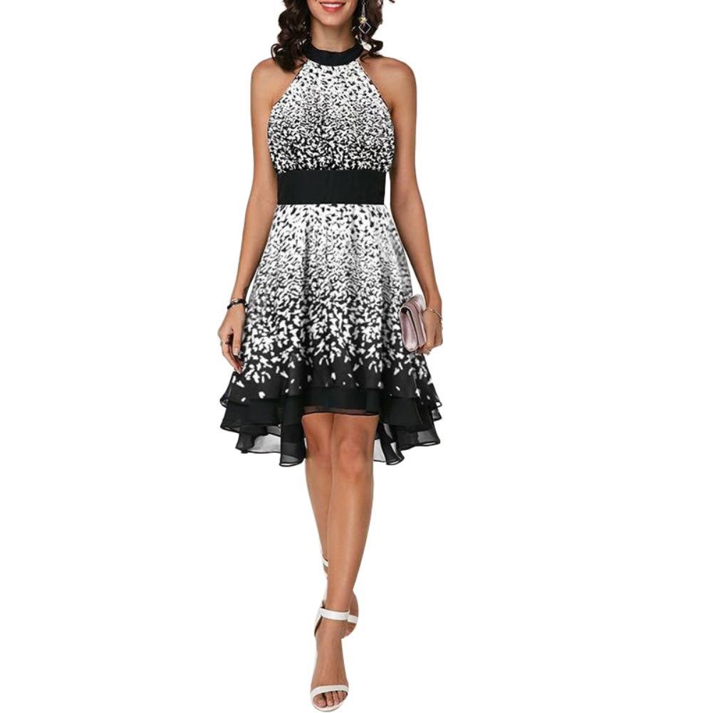 Large Size Dresses Women Vintage Floral Print Long Dresses Lace Up Chiffon Dresses UK Size 14-22 Ladies Retro Elegant Ladies High Waist Sundress for Summer Beach Holiday