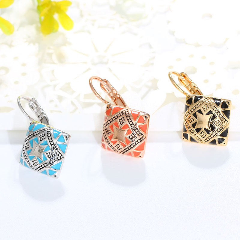 Hot New Fashion Vintage Emalje Geometrisk Square Drop Earring Sølv - Mode smykker - Foto 4