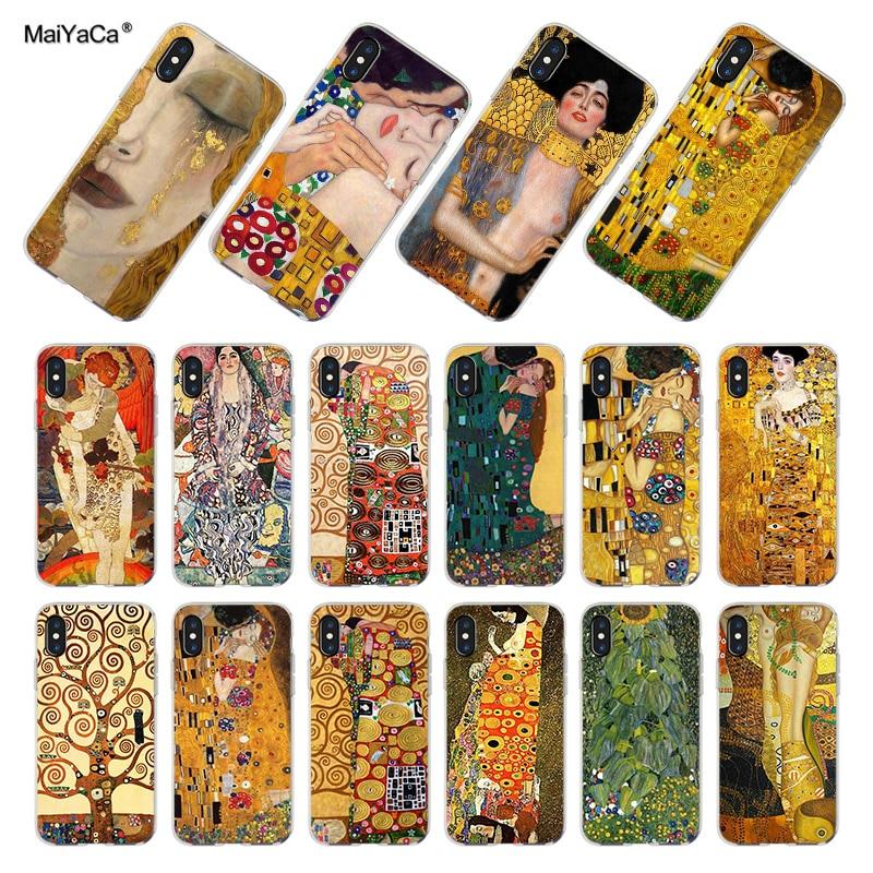 MaiYaCa Para iphone 7 6 X XR XS MAX Caso de Gustavo Klimt Transparente Macio Case Capa Do Telefone para o iphone X 8 7 6 6S Mais XS XR 4S