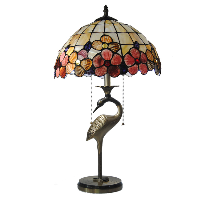 Vintage Tiffany Floral Stained Glass Table Lamp Creative Art Crane Shape  Lampholders Study Room Bedroom Lighting