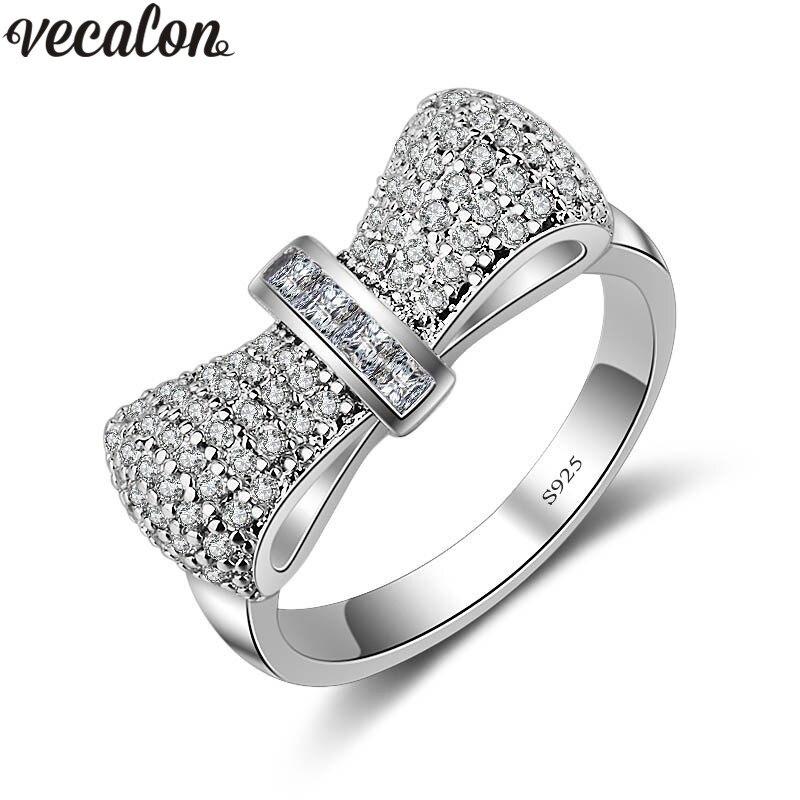 Vecalon Bowknot Style 925 bague En Argent Sterling 5A Zircon Cz Diamont Engagement wedding Band anneaux pour femmes Bijoux De Mariée Cadeau