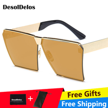 Fashion Brand Designer Square Flat lens Sun Glasses Mirror Women Sunglasses Men Hip Hop Oversized Lady Eyeglasses Male UV400