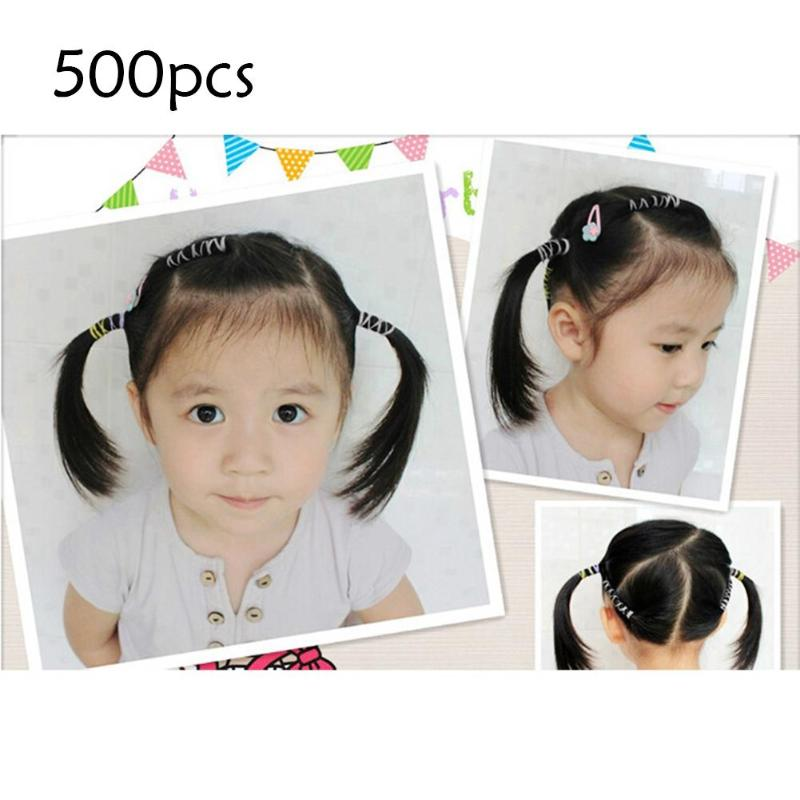 500pcs Wider Thicker Disposable Transparent Hair Band Ponytail Holder Headband Black Hair Ropes Girls Hair Accessories