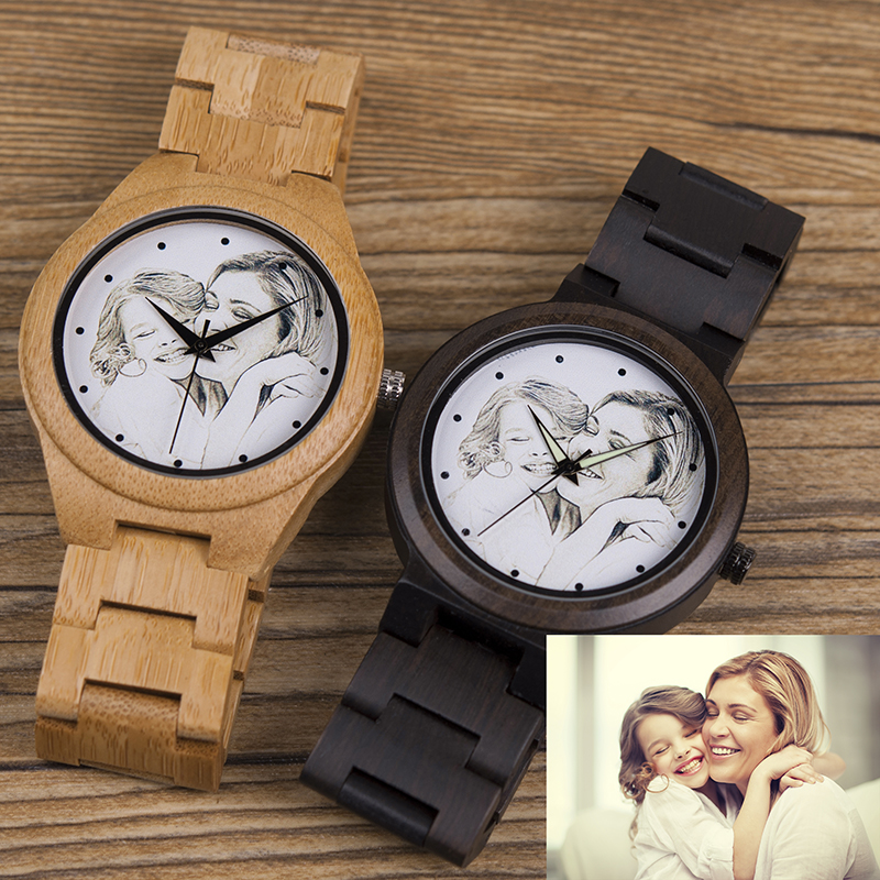 c67314d01e5e Personalized Photos UV Print Wooden Watch Men Wood Watches Birthday ...