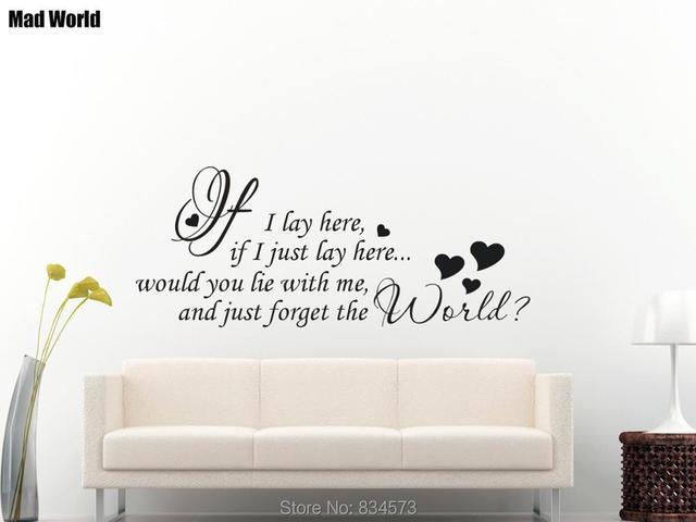 Mad World IF I LAY HERE SNOW PATROL SONG LYRICS Wall Art Stickers ...