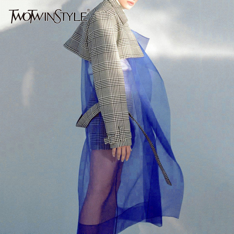 TWOTWINSTYLE Tulle Patchwork Trench Coat Female Plaid Belt High Waist Long Windbreaker 2019 Spring Women Large