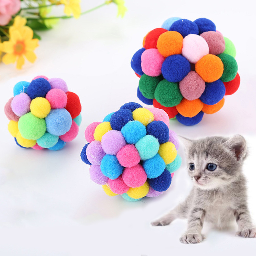 New Pet Cat Toy Colorful Handmade Bells Bouncy Ball Built-in Catnip Interactive Toy #ne816