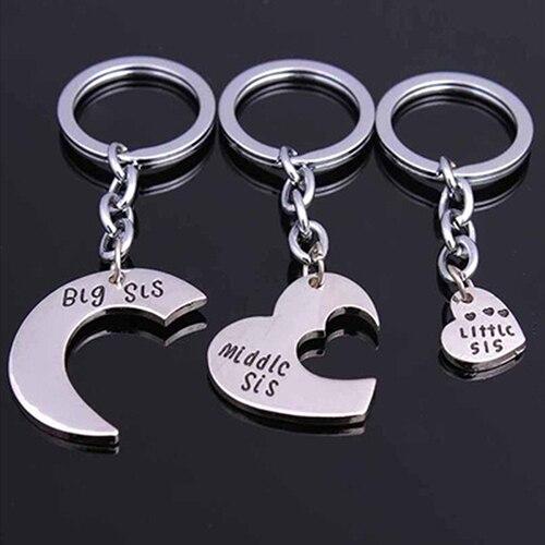 0f38564020bdb 3 Pçs set Amor Coração Grande Médio Pequeno Irmãs Charme Chaveiro  Presentes Chave Anel