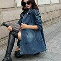 2016 Новый стиль женская джинсовая куртка весна осень верхняя одежда повелительницы мода пальто свободного покроя с длинными рукавами куртки топы джинсовой пальто
