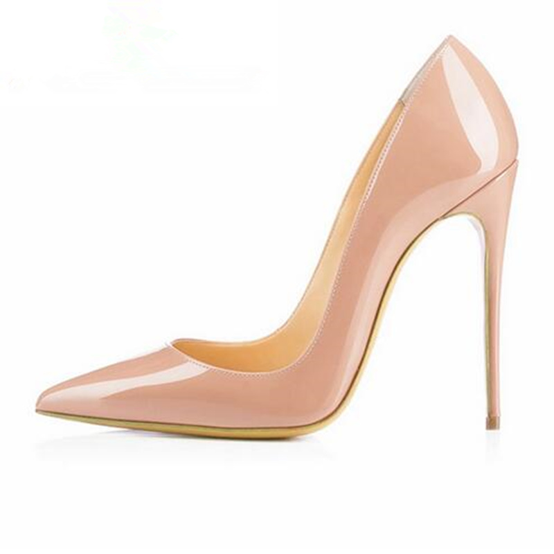 12cm Nude Sexy Shallow Pointed Toe Women Pumps Super Thin High Heels Shoes Women Ladies Shoes Fashion Party Wedding Shoes Woman 2017 sweet ladies peep toe women ankle boots sexy lace super high thin heels women pumps solid zipper female party wedding shoes