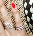 Йоге R0659 Мода новый AAA кубического циркония T камень листьев shaped открытое кольцо, потрясающие ювелирные изделия аксессуары