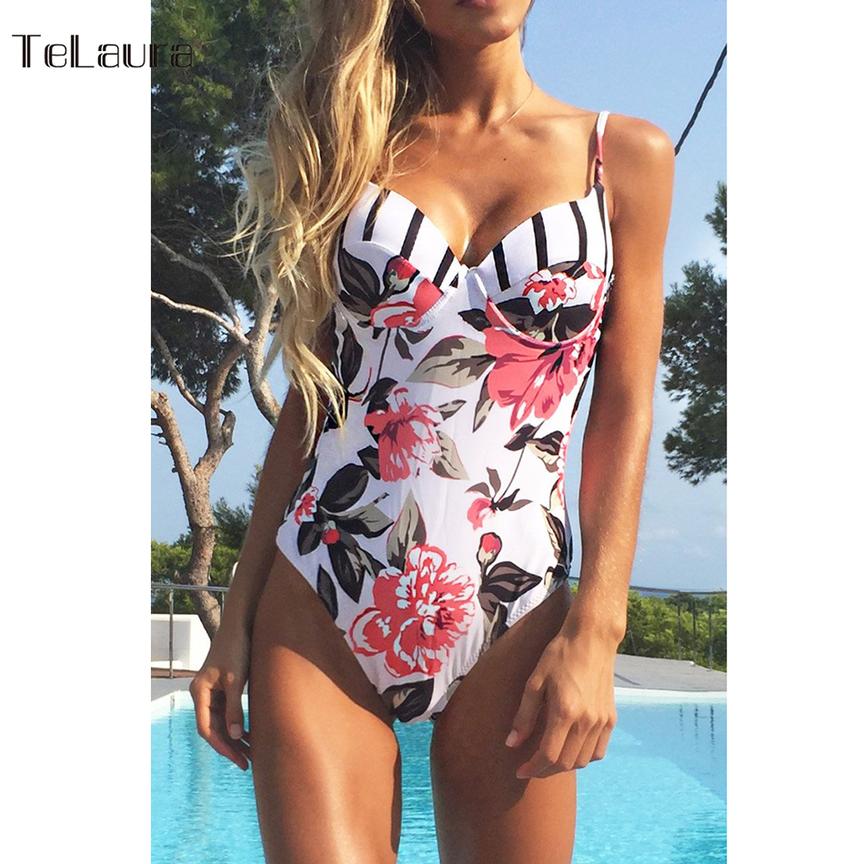 2017 Sexy Floral One Piece Swimsuit Women Swimwear Push Up Monokini Bodysuit Print Swim Suit Hollow Out Bathing Suit Beach Wear plus size swimwear one piece swimsuits sexy women push up padded bikinis floral beach bathing suits push up swim wear monokini