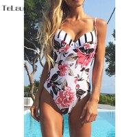 2017 Sexy Floral One Piece Swimsuit Women Swimwear Push Up Monokini Bodysuit Print Swim Suit Hollow