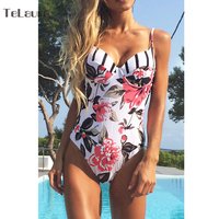 2018 Sexy Floral One Piece Swimsuit Women Swimwear Push Up Monokini Bodysuit Print Swim Suit Hollow