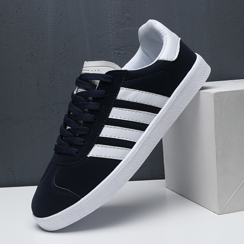 Mens Skateboard Sneakers Classic INS PU Leather Men Trainers Shoes Comfortable Lace-up Canvas Skateboard Shoes Super Star Shoes(China)