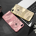 Casos de telefone de luxo para apple iphone 7 iphone 7 plus capa flor chapeamento de ouro silicone fundas para iphone 7 plus transparente case
