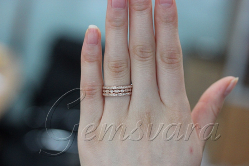 3 Rings Solid 14K Rose Gold Pave Diamond Wedding Bands Engagement
