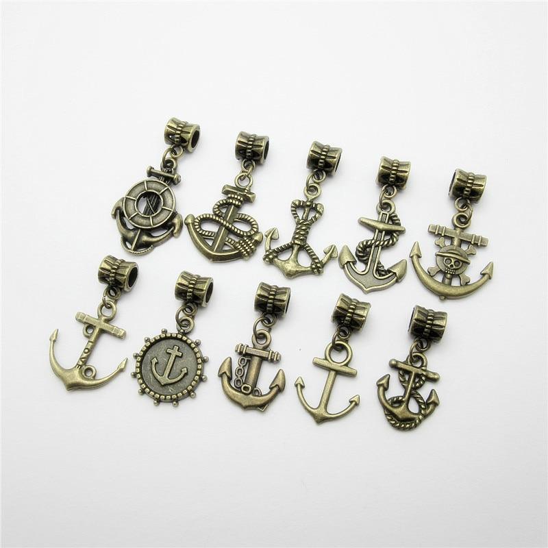 Mix Anchor Charm 20pcs/lot Vintage Tree leaf pendant fit pandora Charms Bracelets DIY Jewelry Making