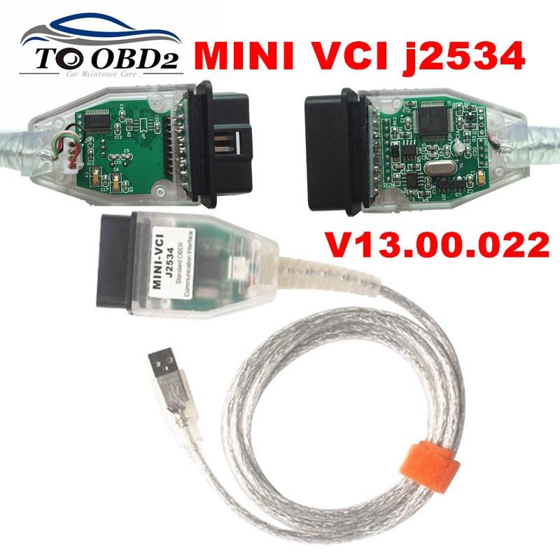 Mini vci v13.00.022 mais recente versão ftdi ft232rl chip de alto desempenho obd saej2534 para toyota/lexus MINI-VCI tis techstream