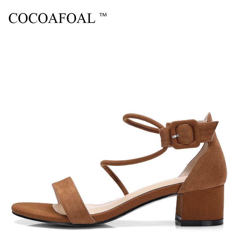 COCOAFOAL Women Peep Toe Heel Height Sandals Plus Size 32 - 42 Wedding Shoes Pink Brown Sexy Genuine Leather Sandals 2018 cocoafoal woamn patent leather sandals fashion heel height black white wedding shoes sexy genuine leather pointed toe sandals