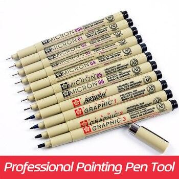 Sakura 11pcs Pigma Micron Needle Waterproof Fine Lines Black Sketch Marker Pen For Design Manga Brush Drawing manga Art Supplies
