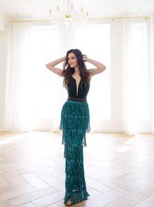 Image 5 - YIDINGZS 2019 חדש פאייטים טאסל סקסי ארוך שמלת ערב אלגנטי V צוואר ערב המפלגה שמלת YD198