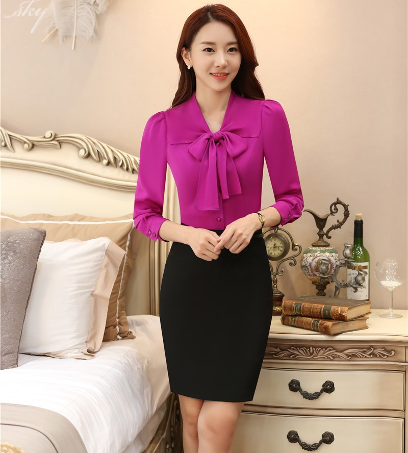 Formal OL Styles Slim Fashion Work Wear Suits With 2 Piece Tops And Skirt Ladies Skirt Suits Office Unfiorms Outfits Set Purple
