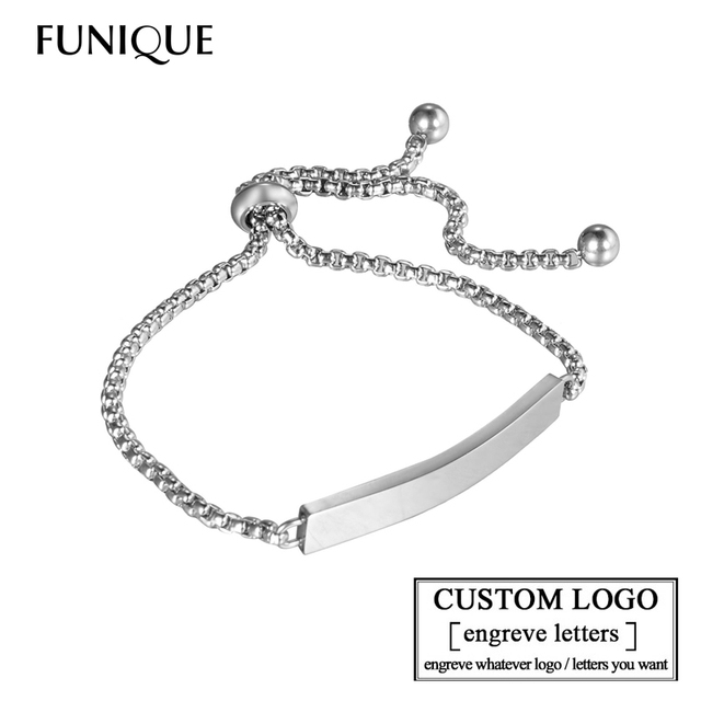 Funique Customize Engrave Bracelets For Women Stainless Steel Custome Personalized Id Bracelet Logo Name Bangles