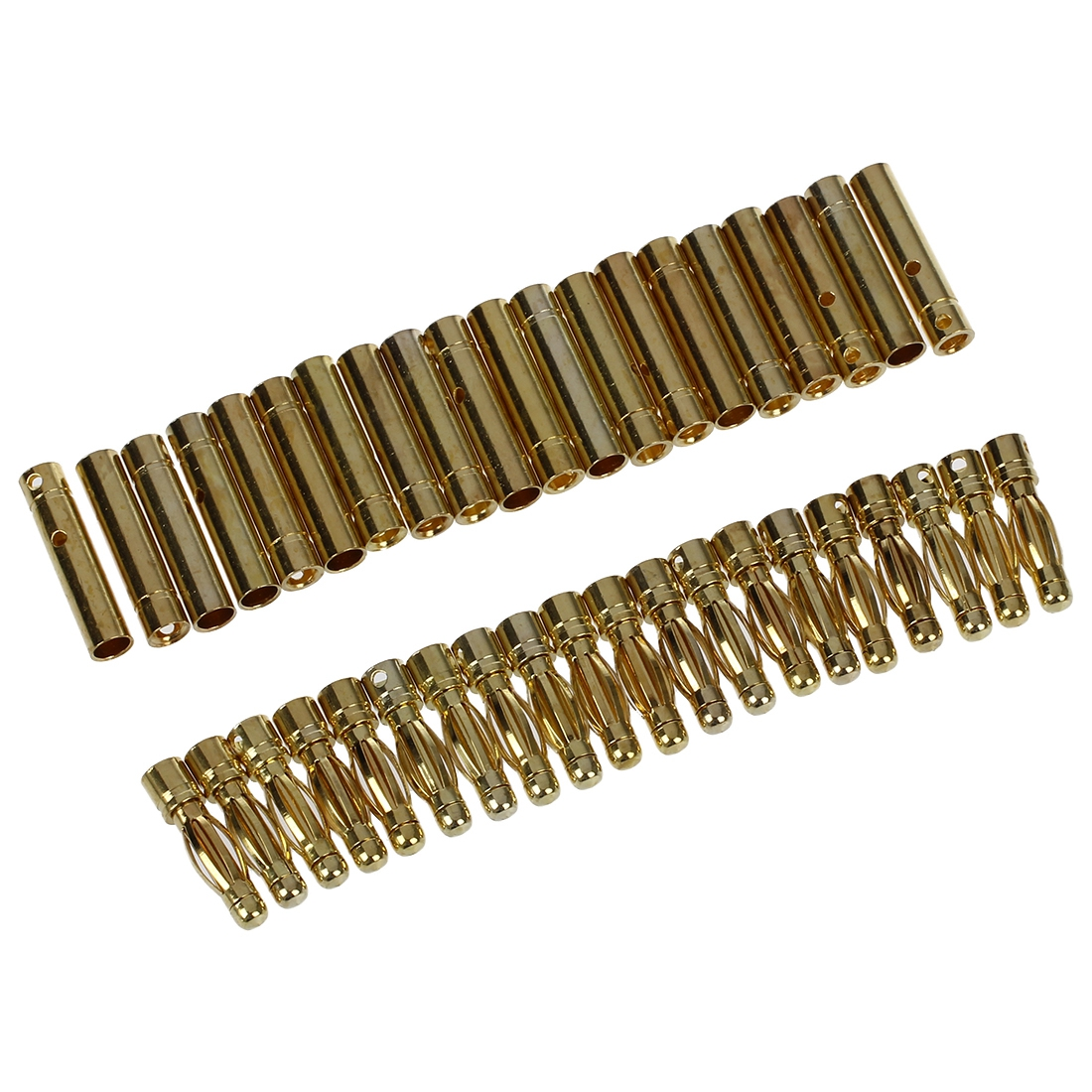 20 Pairs Gold Tone Metal RC Banana Bullet Plug Connector Male Female 4 mm areyourshop hot sale 50 pcs musical audio speaker cable wire 4mm gold plated banana plug connector