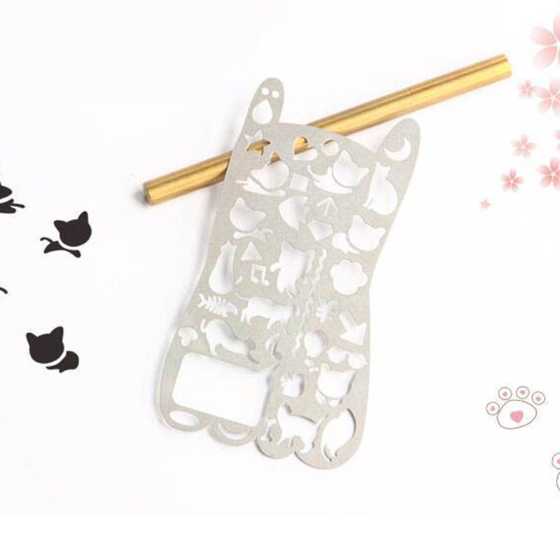6pcs/lot Hollow-out Cat Metal Stencil Ruler For Kids Drawing , Kawaii Cat Stainless Steel Spirograph Ruler
