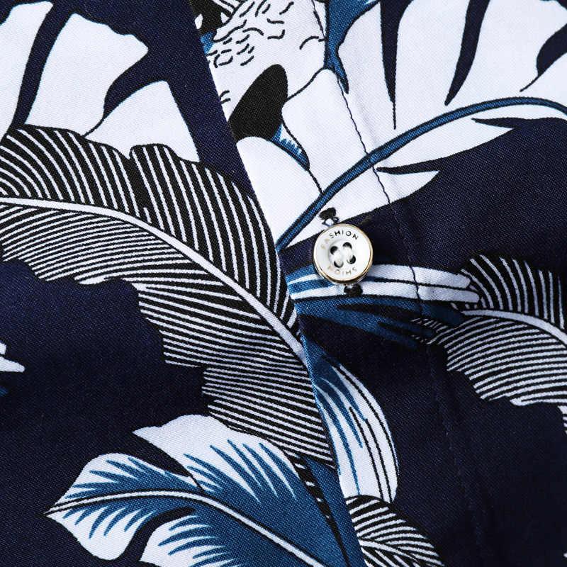 2019 летняя новая мужская гавайская рубашка с короткими рукавами модная повседневная майка большого размера с цветочным рисунком Мужская брендовая одежда 4XL 5XL 6XL