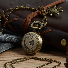 2017 Bronze Poker Pattern Necklace Watch Vintage Style Bronze  Pendant Chain Clock Quartz Pocket Watch Xmas Gift