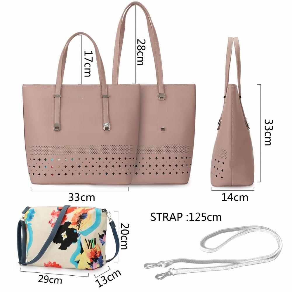 DAVIDJONES Hollow Out Women Totes Bag 2018 PU Leather Women Shoulder Bags For Women Girls Large Capacity Print Bags Female Bag
